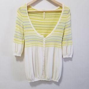 Free People Cardigan Sweater Striped Yellow Knit S